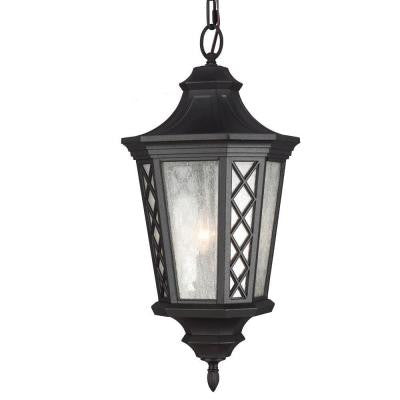 Wembley Park Collection 3-Light Outdoor Hanging Textured Black Lantern Pendant