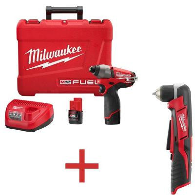 M12 FUEL 12-Volt 1/4 in. Hex Impact Driver Kit with Free M12 3/8 in. Right Angle Drill (Tool-Only)