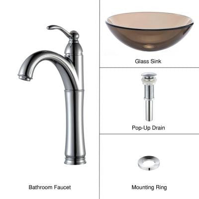 Glass Vessel Sink in Clear Brown with Single Hole 1-Handle High-Arc Riviera Faucet in Chrome