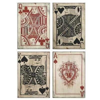 Leonato 18 in. H x 12.75 in. W Iron Playing Card Wall Decor (Set of 4)