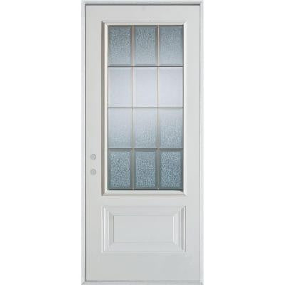 32 in. x 80 in. Geometric Clear and Zinc 3/4 Lite 1-Panel Prefinished White Right-Hand Inswing Steel Prehung Front Door