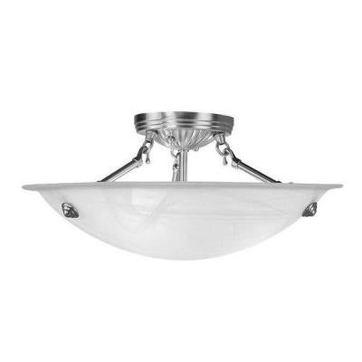 3-Light Brushed Nickel Flushmount with White Alabaster Glass