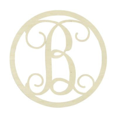 19 in. Unfinished Single Circle Monogram (B)