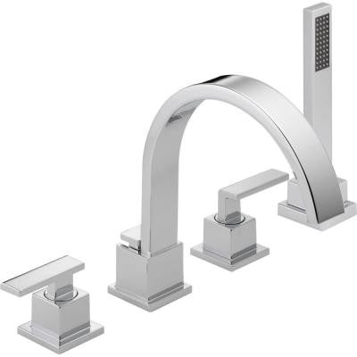 Vero 2-Handle Deck-Mount Roman Tub Faucet with Hand Shower Trim Kit Only in Chrome (Valve Not Included)