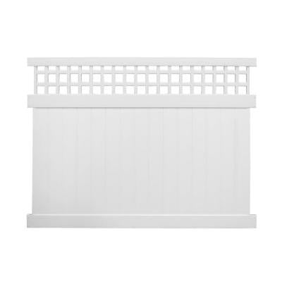 Tacoma 6 ft. x 8 ft. White Vinyl Privacy Fence Panel