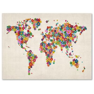 "30 in. x 47 in. ""Flowers World Map"" Canvas Art"