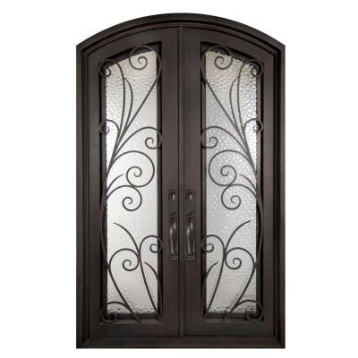 62 in. x 97.5 in. Flusso Classic Full Lite Painted Oil Rubbed Bronze Wrought Iron Prehung Front Door