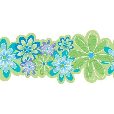 11 in. x 15 ft. Brightly Colored Contemporary Flowers Border