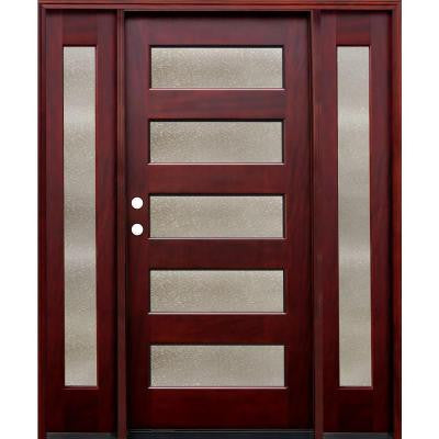 70 in. x 80 in. Contemporary 5 Lite Seedy Stained Mahogany Wood Prehung Front Door with 14 in. Sidelites