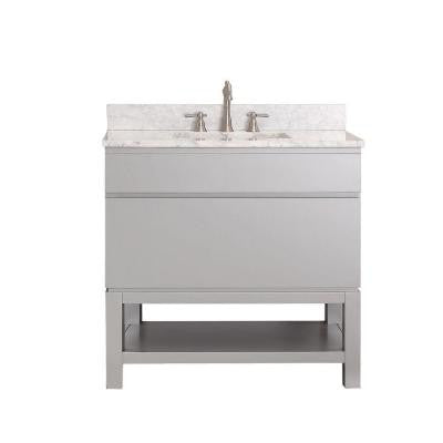 Tribeca 36 in. Vanity in Chilled Gray with Marble Vanity Top in Carrara White