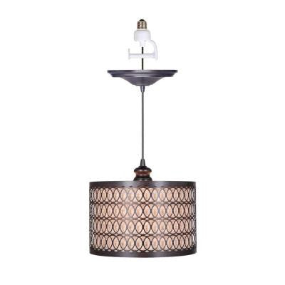 1-Light Brushed Bronze Instant Pendant Conversion Kit and Overlay with Linen Drum Shade