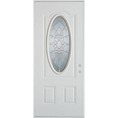 32 in. x 80 in. Traditional Patina 3/4 Oval Lite 2-Panel Prefinished White Left-Hand Inswing Steel Prehung Front Door