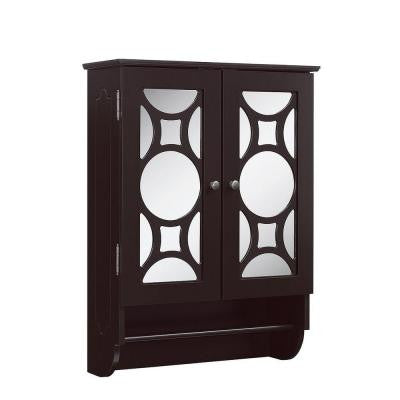 23.625 in. W x 9.25 in. D x 32 in. H Wall Cabinet with 2-Mirrored Doors in Espresso