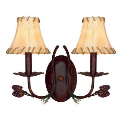 2 Light Antique Rust Pinecone Sconce
