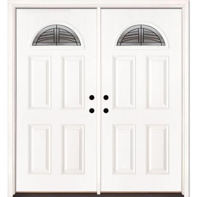 74 in. x 81.625 in. Rochester Patina Fan Lite Unfinished Smooth Fiberglass Double Prehung Front Door