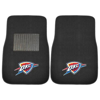 NBA Oklahoma City Thunder 2-Piece 17 in. x 25.5 in. Carpet Embroidered Car Mat