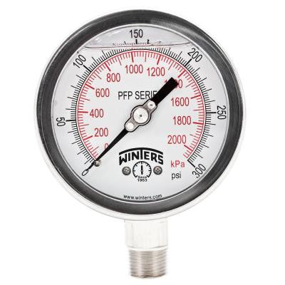 PFP Series 4 in. Stainless Steel Liquid Filled Case Pressure Gauge with 1/2 in. NPT LM and Range of 0-300 psi/kPa