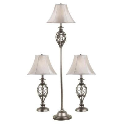Cerise Silver 2-Table and 1-Floor Lamp Set