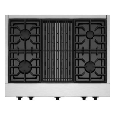 36 in. Gas Cooktop in Stainless Steel with Grill and 4 Burners including 20000-BTU Ultra Power Dual-Flame Burner