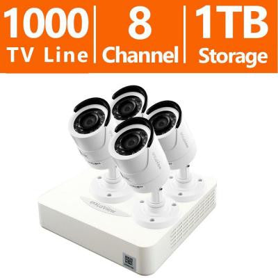 8-Channel 960H Surveillance System with 1TB HDD and (4) 1.3MP High Resolution Camera