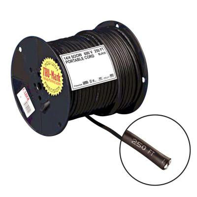 250 ft. 14-Gauge 4 Conductor Portable Power SOOW Electrical Cord - Black