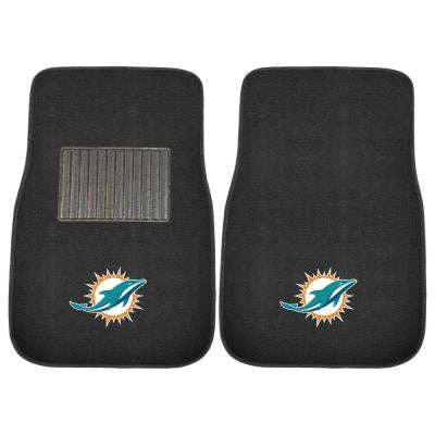NFL Miami Dolphins 2-Piece 17 in. x 25.5 in. Carpet Embroidered Car Mat