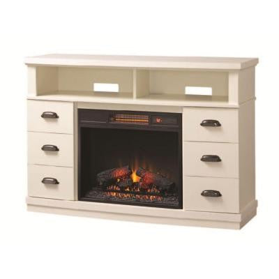 Canton Park 48 in. Corner Media Console Electric Fireplace in White