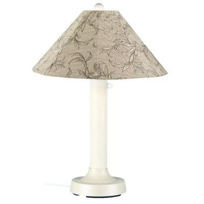 Seaside 34 in. Outdoor White Table Lamp with Bessemer Shade