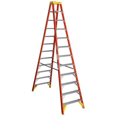 12 ft. Fiberglass Twin Step Ladder with 300 lb. Load Capacity Type IA Duty Rating