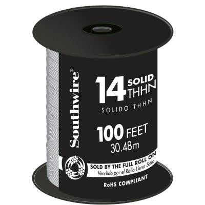 100 ft. 14 Solid THHN White Wire
