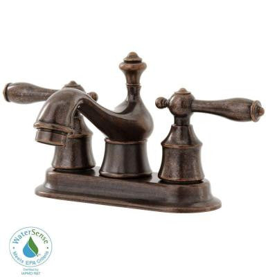 Estates 4 in. Centerset 2-Handle Low-Arc Bathroom Faucet in Heritage Bronze