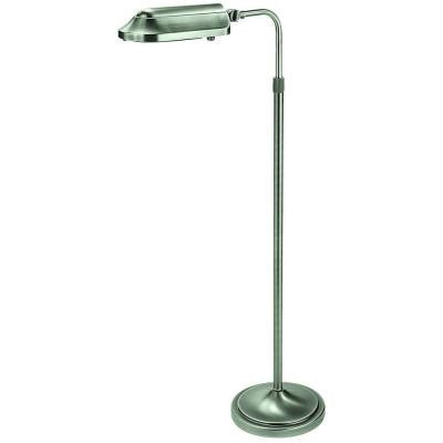 Heritage 39 in. Antiqued Brushed Nickel Natural Spectrum Floor Lamp with Full Rotation Head and Adjustable Arm
