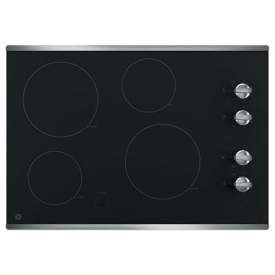 30 in. Radiant Electric Cooktop in Stainless Steel with 4 Elements including 2 Power Boil Elements