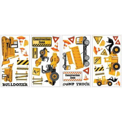 5 in. x 11.5 in. Construction Trucks Peel and Stick Wall Decals