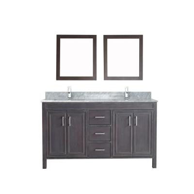 Dawlish 60 in. Vanity in French Gray with Marble Vanity Top in Carrara White and Mirror