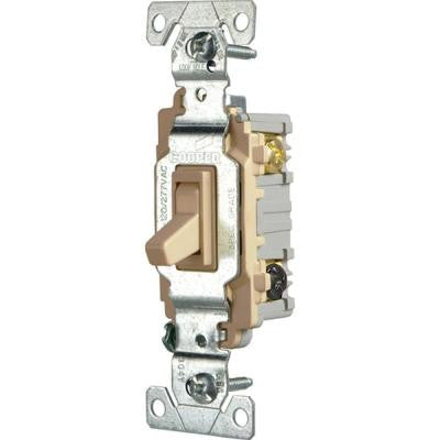 Commercial Grade 15 Amp 3-Way Toggle Switch with Back and Side Wiring - Ivory