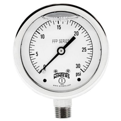 PFP Series 2.5 in. Stainless Steel Liquid Filled Case Pressure Gauge with 1/4 in. NPT LM and Range of 0-30 psi