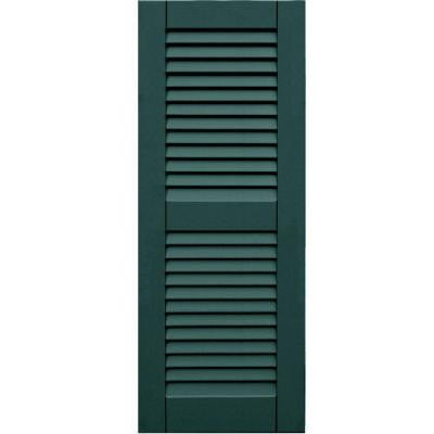 Wood Composite 15 in. x 39 in. Louvered Shutters Pair #633 Forest Green