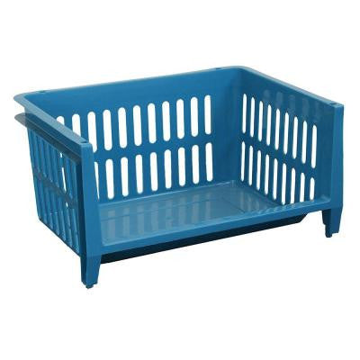 19 in. x 14 in. x 10 in. Jumbo Storage Stacking Basket in Blue