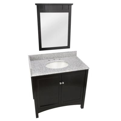Haven 37 in. Vanity in Espresso with Granite Vanity Top in Rushmore Grey and 25 in. Mirror