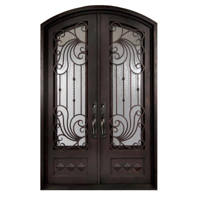 74 in. x 97.5 in. Mara Marea Classic 3/4 Lite Painted Oil Rubbed Bronze Wrought Iron Prehung Front Door