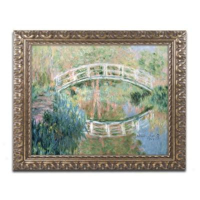 "16 in. x 20 in. ""The Japanese Bridge Giverny"" by Claude Monet Framed Printed Canvas Wall Art"