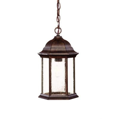 Madison Collection Hanging Outdoor 1-Light Black Coral Lantern
