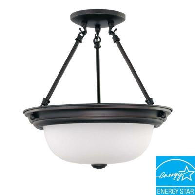 2-Light Mahogany Bronze Fluorescent Ceiling Semi-Flush Mount Light