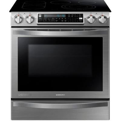 CHEF Collection 30 in. W 5.8 cu. ft. Slide-In Flex Duo Range with Self-Cleaning Convection Oven in Stainless Steel