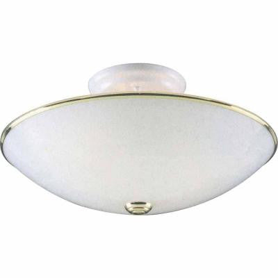 Lenor 3-Light Polished Brass and White Incandescent Ceiling Flushmount