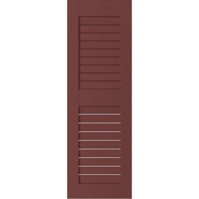 18 in. x 27 in. Exterior Real Wood Pine Louvered Shutters Pair Cottage Red