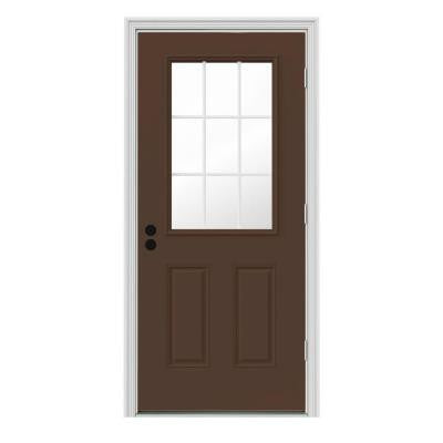 32 in. x 80 in. 9 Lite Dark Chocolate Painted Premium Steel Prehung Front Door with Brickmould