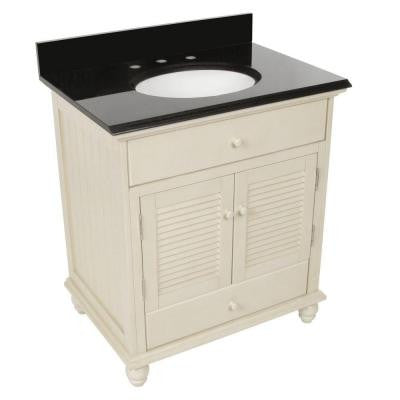 Cottage 31 in. W x 22 in. D Vanity in Antique White with Granite Vanity Top in Black