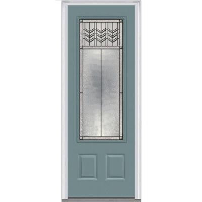 36 in. x 96 in. Prairie Bevel Decorative Glass 3/4-Lite Painted Fiberglass Smooth Prehung Front Door